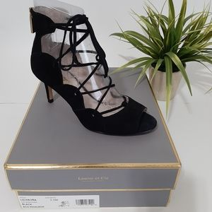 Louise et Cie Lace-up Peep-toe Heel Black Size 5.5